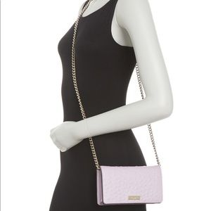 Kate Spade Ostrich Embossed Leather Crossbody Wallet Bag, Purple/Pink, NWT